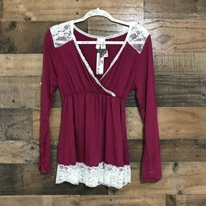 Lamaze Burgundy with White Lace Nursing Pajama Top